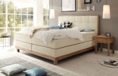 Boxspringbett Wildeiche massiv bianco 160x200 SWISS BEDS #20