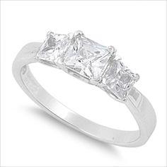 1 ct cz Princess cut 3-Stone Engagement Ring .925 Silver