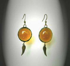 Amber Glass Jewel Angel Wing Earrings