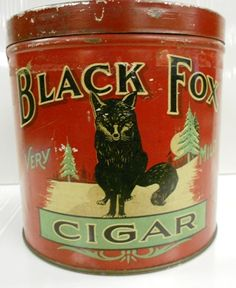 "RARE BLACK FOX CIGARS TIN. Manufactured by McLeod Nolan & Co. London Canada. Only owned one or two others in 35 years. Beautiful graphics of a black fox adorn both sides of this tin as well as a third one on litho top lid. Measures 5 1/4"" in height with a 5 1/4"" diameter. Wonderful colors."