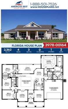 A 1-story Florida house, Plan 3978-00164 features 2,362 sq. ft., 4 bedrooms, 3 bathrooms, split bedrooms, a breakfast nook, a lanai, and a formal living room. #floridahome #architecture #houseplans #housedesign #homedesign #homedesigns #architecturalplans #newconstruction #floorplans #dreamhome #dreamhouseplans #abhouseplans #besthouseplans #newhome #newhouse #homesweethome #buildingahome #buildahome #residentialplans #residentialhome Family House Plans, Best House Plans, Dream House Plans, Dream Houses, House Floor Plans, Florida House Plans, Florida Home, Building Plans, Building A House
