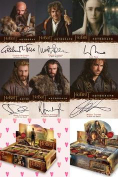 Hobbit cards signed by actors like Lee Pace, Richard Armitage, Martin Freeman and etc.