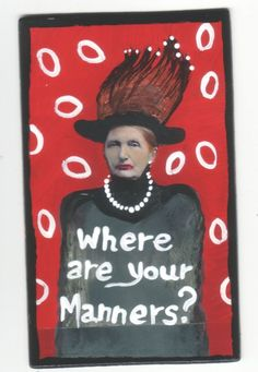 Manners Police small original US outsider artist brut painting mixed media #Outsider