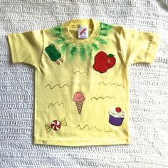 Tee Shirt Colorful and Fun Handpainted Ice Cream by AnjusCreations