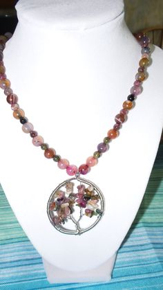 Tourmaline necklace with wire wrapped Tree of Life pendant. by FierStaarGems on Etsy
