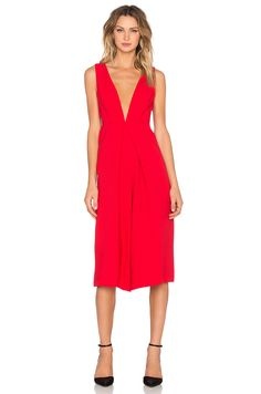 BCBGeneration Deep V Gaucho Jumpsuit in Cardinal Feather
