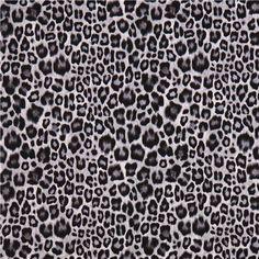 black grey white leopard animal skin print Michael Miller fabric 2