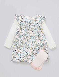 3 Piece Cotton Rich Floral Cord Dress, Bodysuit & Tights Outfit