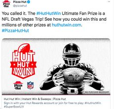 Pizza Hut embeds their campaigns into their account by adding links to their tweets. Their relationship with the NFL reaches not only pizza loves, but pizza lovers that also have an affinity for football. Genius. Order Pizza, Pizza Hut, Twitter Sign Up, First Love, Nfl, Lovers, Relationship, Football, Game