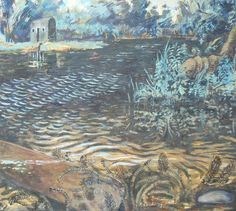 Painting of Thorpeness Meare by Victoria Parker Jervis. Peggoty's House is in the background.