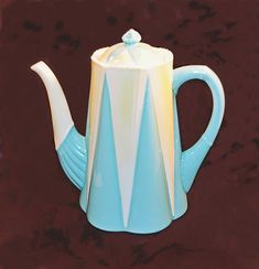 Shelley Dainty Coffee Pot, Pattern No Blue, White, And Yellow Pattern Names, Lemon Yellow, Kind Words, Teapots, Tea Cups, Art Pieces, Mid Century, Blue And White, Blue Birthday