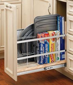 Rev-A-Shelf – Wide Tray Divider/Foil Wrap Holder with S… - Kitchen Cabinet Ideas Baking Storage, Diy Kitchen Storage, Kitchen Cabinet Organization, Cabinet Ideas, Bathroom Storage, Corner Storage, Black Kitchens, Cool Kitchens, Small Kitchens