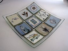 M Beneke fused glass platter