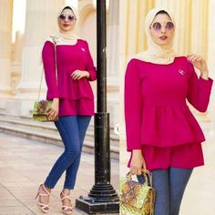 red ruffle blouse-Super cute hijab outfits – Just Trendy Girls – Beauty Shares Modern Hijab Fashion, Street Hijab Fashion, Abaya Fashion, Muslim Fashion, Suit Fashion, Modest Fashion, Chic Outfits, Fashion Outfits, Modele Hijab