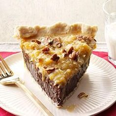 Coconut-Pecan German Chocolate Pie Recipe -This pie combines the ingredients everyone loves in its classic cake cousin. It's so silky and smooth, you won't be able to put your fork down. —Anna Jones, Coppell, Texas