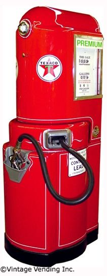 Texaco 1941 Wayne 100 gas pump. It is a swing-arm style gas pump, designed so gas could be pumped from either side of the island. The hose was positioned on a reel inside the pump so the excess would retract when not in use Liz Hobbs