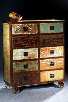 Vintage möbel bunt  Ein absolutes Unikat ist die Kommode ALLEGRO im Vintage-Look. Das ...