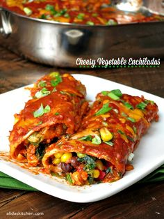 Cheesy Vegetable Enchiladas   alidaskitchen.com #SundaySupper