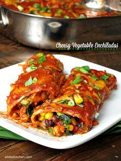 Cheesy Vegetable Enchiladas | alidaskitchen.com #SundaySupper