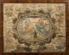 A 17th Century stumpwork picture: with central oval panel of robed female figures, enclosed by birds, animals, insects, flowers and foliage. Worked in coloured silks of greens, blues and reds. 42 cm x 53 cm.