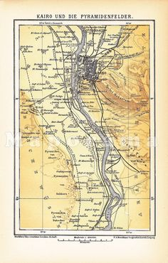 Map of Cairo - Egypt with the Nile and the Giza Plateau 1903