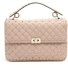 VALENTINO GARAVANI 'Spike' Shoulder Bag ($2,625) ❤ liked on Polyvore featuring bags, handbags, shoulder bags, spiked purse, valentino shoulder bag, pink shoulder bag, shoulder bag handbag and pink purse