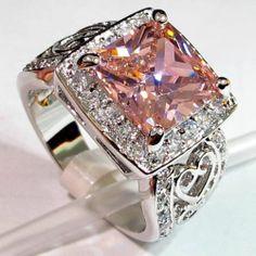 SZ6 7 8 9 10 Stunning Kunzite Lab Ring 925 Sterling Plated Ring | eBay