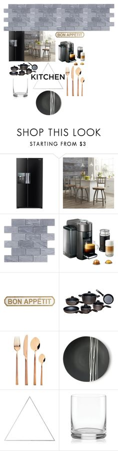 """Dream Kitchen"" by keezyx ❤ liked on Polyvore featuring interior, interiors, interior design, home, home decor, interior decorating, Samsung, Holland Bar Stool Company, DeLonghi and Pier 1 Imports"