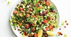 A healthy, gluten-free tabouli with feta, pomegranate and pine nuts.