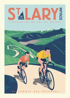 © Marcel St Lary LE COL DU PORTET - Special Edition Tour de France 2018 - www.marcel-travelposters.com