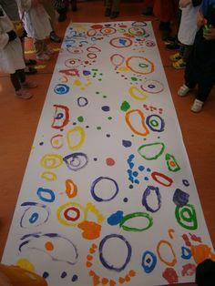 """LA CLASE DE MIREN: mis experiencias en el aula: TALLER DE GRAFISMO: """"SUPERCUADRO DE CÍRCULOS, BOLAS Y PUNTOS"""" Todos a la vez con normas."""