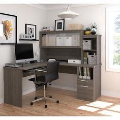 Bestar's Uptown Digital Height Adjustable L-Shape Desk with Hutch, Lateral File…