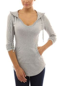 V-neck Hoodie with Front Pocket in Light Grey