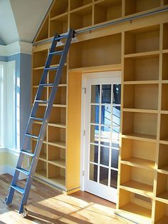 A little talk but accessing vault ceiling bookcases is a good idea