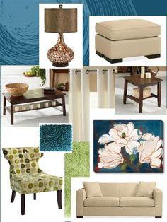 living room inspiration board- green, brown, orangey brown, cream