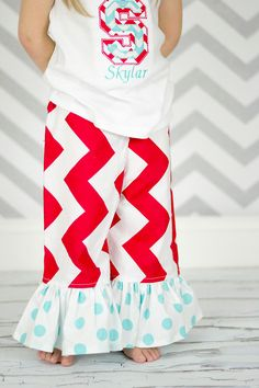 Chevron Pants - Ruffle Pants - Red and White Aqua Chevron Pants -  Girls Ruffle Pants - Chevron Dots Ruffle Pants. $23.00, via Etsy.