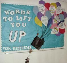 Oct West Campus Winner: Rudolph RA Shannon Markert's bulletin board Words to Lift You Up