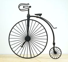 Vintage Metal High Wheel Bicycle Sculpture