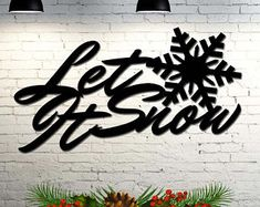 Let It Snow Christmas Decoration Indoor / Outdoor Decoration - 20 inches wide x 11 inches high - Custom Metal Sign #ad