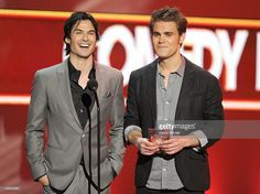Actors Ian Somerhalder and Paul Wesley speak onstage at the 2012 People's Choice Awards at Nokia Theatre L.A. Live on January 11, 2012 in Los Angeles, California.