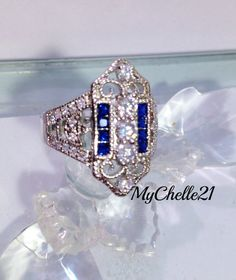 Brilliant Sparkle Blue and Clear Fancy Shield Ring, 6 or 7 only. Starting at $1