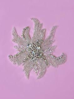 1 Swarovski Crystal Beaded Wedding Gown Applique by allysonjames