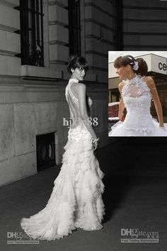 Wholesale Wedding Dresses - Buy Custom-Made New Sexy High Neck Backless Sleeveless Lace Layers Organza Wedding Dresses/Bride Gowns, $153.41 | DHgate