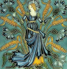 Walter Crane(1845-1915) in 1900 he designed this set of Art Nouveau tiles called Flora's Retinue for the Pilkington Tile & Pottery Company. This one is entitled Cornflower | JV