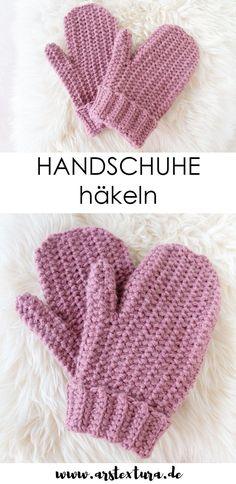 Häkeln Anleitung: Einfache Handschuhe häkeln mit gratis Anleitung und Video - Fausthandschuhe selber machen für Anfänger #häkeln