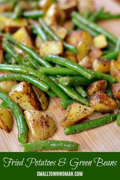 Pan Fried Potatoes and Green Beans - Vegetable Recipes Best Side Dishes, Side Dish Recipes, Vegetable Recipes, Vegetarian Recipes, Cooking Recipes, Recipes Dinner, Potato Recipes, Pasta Recipes, Crockpot Recipes