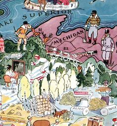 Minnesota and Wisconsin Vintage Whimsical by Retrodigitalmaker