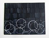 """No. 63 - Modern Abstract 16"""" x 20"""" on regular 3/4"""" depth canvas- (Graphic black and white painting). $76.00, via Etsy."""