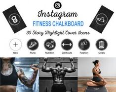 Fitness-Chalkboard-Instagram-Story-Highlight-Icons Photo Instagram, Instagram Tips, Instagram Fashion, Instagram Story, Instagram Music, Instagram Logo, Instagram Settings, Image Icon, Cover Template