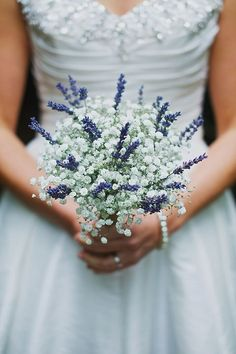 Just a hint of lavender can make your smaller, vow renewal bouquet of baby's breath pop!